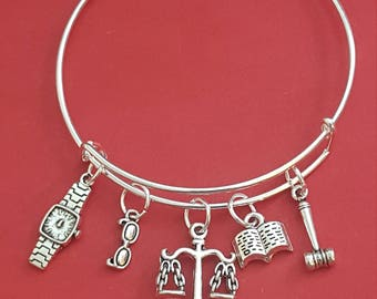 Silver Paralegal Themed Charm Bracelet