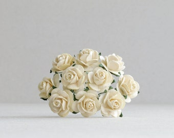 20mm Ivory Paper Flowers - 10 mulberry paper roses with wire stems [153]
