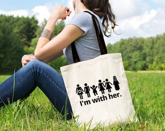 """Feminist Tote Bag: Historical """"I'm With Her"""" Tote 