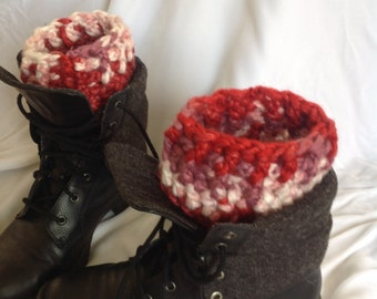 Sale - Red Mix Chunky Ribbed Edge Boot Cuffs, Boot Toppers, Crochet Boot Cuffs, Winter Boot Cuffs, Boot Socks