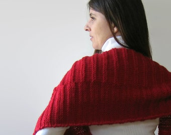 Blanket Scarf Knitted in Red Merino Wool - Hand Knitted Items, Oversized, Chunky Knit Shawl, Multi Wrap Scarf, Womens Scarves, Huge, Mens