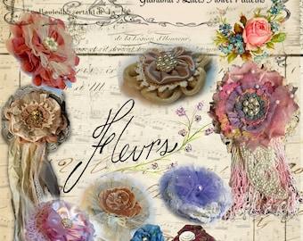 Fabric FLOWER Tutorials, Digital, Bountiful Blooms, Lace flower, DYI Flowers, lace flower, fabric flowers, shabby chic flower, wedding