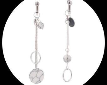Asymmetrical long Silver Earrings dangle Gemstones Asymmetrical Silver earrings