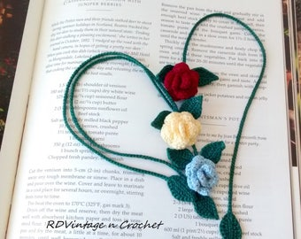 Crochet flower bookmark, rose bookmark, car mirror décor