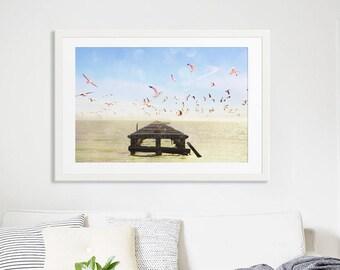 "Large Beach Photography // Ocean Photography // Abandoned Pier San Francisco, California // Seascape Photography // Pink Seagulls - ""Marina"""