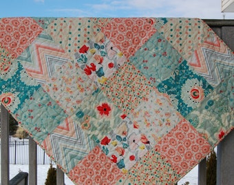 Baby girl quilt, crib quilt, toddler bed, Pat Bravo Rapture Subtle Joy, coral-mint-peach-teal
