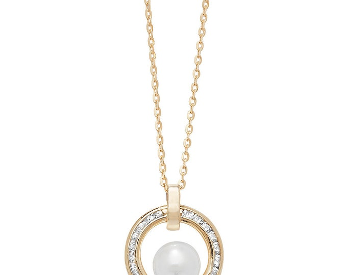 """9ct Gold 12mm Channel Set Cz Circle of Life & Pearl 18"""" Necklace"""
