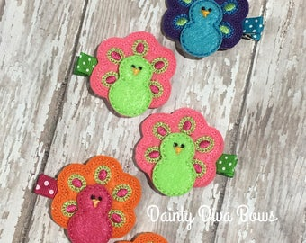 Peacock Hair Clips, Baby Clips, Toddler Hair Clips, Infant Hair Clips, Baby Gift, New Baby, Peacock Hair Bow, Blue, Hot Pink, Orange, Green