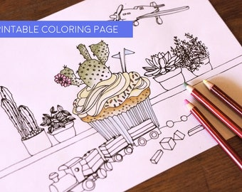 Coloring Page Cactus Cupcake Adult Colouring Sheet Instant Pdf Download Printable Illustration Handmade Drawing Print Color Yourself