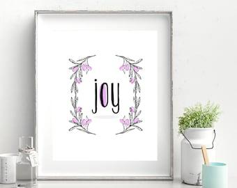 Joy Flowers Printable Poster (Purple)