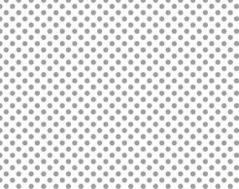 "Gray Small Dots on White - Riley Blake Designs - 1/4"" Quarter Inch - Quilting Cotton Fabric - choose your cut"