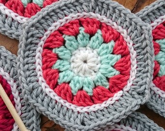 Crochet Hexagon Pattern - Winter Hexagon - PDF crochet motif pattern