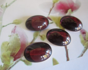 18x13mm Amethyst Domed Glass Oval Cabs 4Pcs.