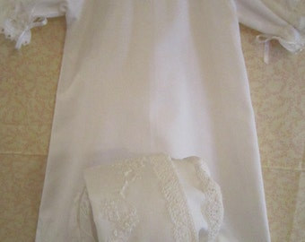 White Hand Embroidered Baby Day Gown