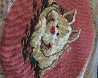 Happy Pig needlepoint
