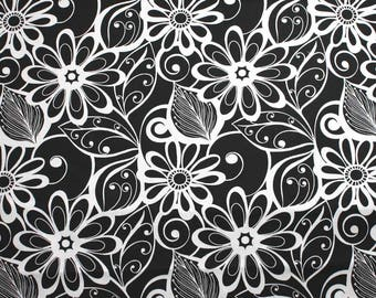 White Flowers and Leaves on Black Home Decor Cotton Fabric - One Yard - 44 Inch Home Decor Fabric by Mill Creek Fabrics