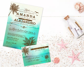 Beach wedding Invitations Destination Wedding Tropical Wedding Invite Sea Green Ocean Palm Trees, Printable Wedding Stationery Set Beach