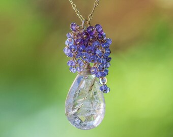 Golden Rutilated Quartz Pendant, Tanzanite Necklace, Amethyst Necklace, Statement Necklace, Gold Gemstone Necklace, Purple Necklace