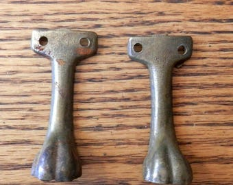 pair (2) cast brass claw feet for project
