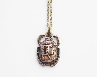 Scarab Necklace, Scarab Beetle Necklace, Egyptian Scarab Necklace, Antiqued Brass Scarab Charms, Exotic Beetle Jewelry, Boho Brass Earrings