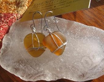 Lovely Lake Superior Amber beach glass earrings