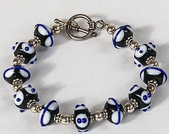 Black and Blue Lampwork and Sterling Silver Bracelet