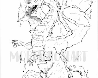 Rock Dragon Coloring Page | Digital Download | Printable | Instant | Adult | Kid | Fantasy | Creature | Mythical | Magical