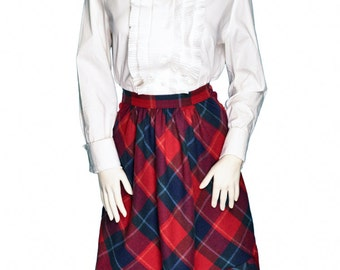 Size 0 / XXS Women's Red, Blue and Green Plaid Skirt with Ruffle Bottom