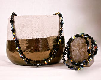 Psychedelic Necklace and set of Bracelets, Black with prismatic colors