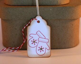Christmas gift tags, Christmas tags, Holiday gift tags, Holiday mitten tags, tags