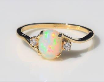 Opal ring gold Etsy