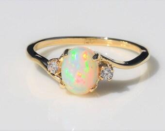 Genuine Ethiopian Opal Ring, Gold Opal Ring, Gold Ring, Opal Ring, Promise Ring, Engagement Ring, Genuine Opal
