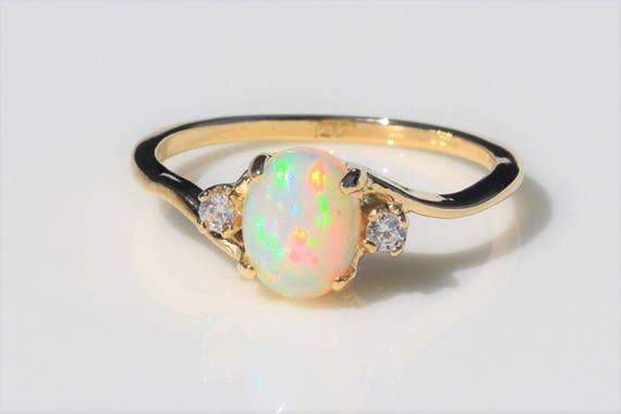 and gold ring simple scotland silver gemstone petite stacking scottish opal handmade in