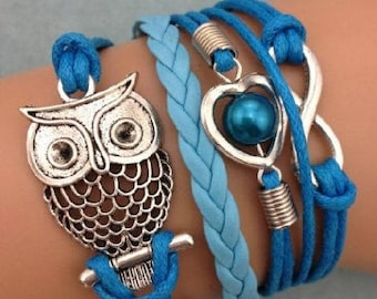 Owl infinity bracelet, free shipping