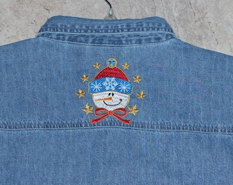 Denim Snowman Shirt---ONE Of A KIND- Back Yoke Design Added