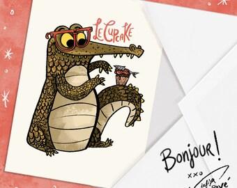 Le cupcake Alligator Blank Greeting Card