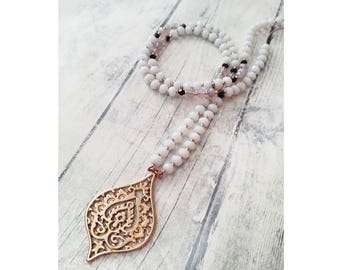 Boho necklace, Filigree pendant necklace, Drop pendant, Ethnic necklace, Beaded necklace, Black and white, Rose gold necklace, For Her