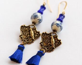 Asian Inspired Blue Earrings, Bird of Paradise Silk Tassel Earrings, Vintage Japanese Decal Bead Earrings, Bamboo and Bird Earrings, SRAJD