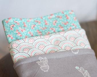 Simple cactus + floral burp cloth set