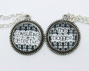 """SHERLOCK  """"The Blogger"""" & """" Consulting Detective"""" Friendship Pendants Necklace, Sherlock Holmes,Fan Jewelry, Great Gift"""