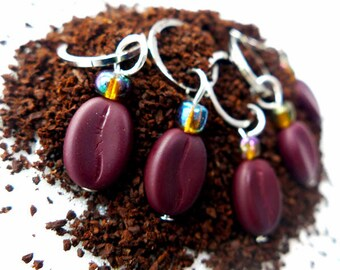 I Love Coffee - Five Handmade Stitch Markers - Fits 5.0mm (8 US) To 6.0mm (10 US) - Open Edition