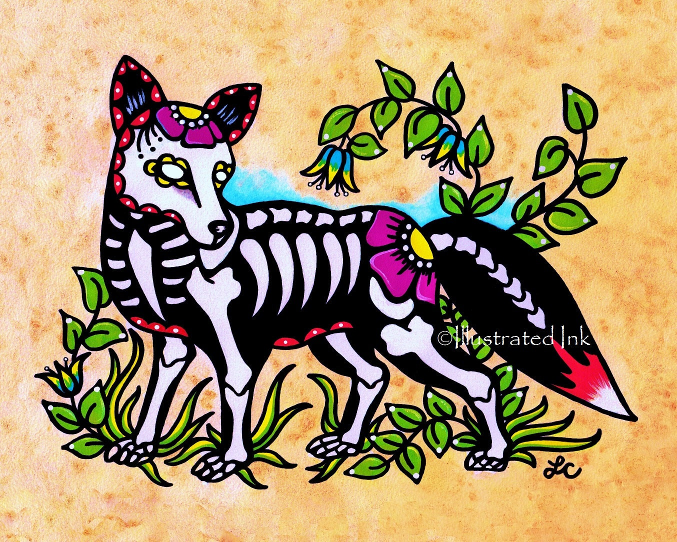 Day of the dead fox dia de los muertos art print 5 x 7 8 x 10 for Old school day of the dead tattoo