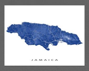 Jamaica Map Print, Wall Art, Caribbean Island Art, Kingston, Negril, Montego Bay