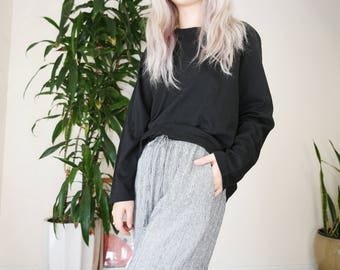 Black Long Sleeve Comfortable top / Lounge wear top / Black Leisure Top / small - medium shirt