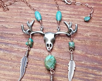 Deer Skull Turquoise Necklace