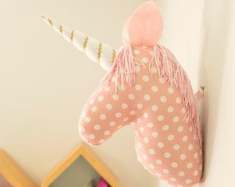 Unicorn wall mount art. Unicorn Head. Magical modern unicorn.Faux Taxidermy.Pink,White and Gold. Room Decor. Modern Decor. Whimsical Decor.