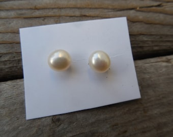 6mm fresh water pearl studs in sterling silver