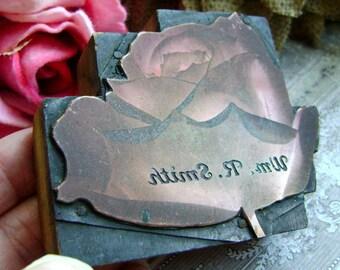 metal rose, letterpress printers block, old seed catalog, Wm R Smith tea rose, etched copper letterpress, vintage letterpress, anvilsattic