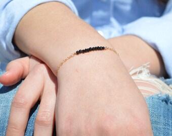 Black Spinel Bracelet, Danity Stacking Bracelet, 14k Gold Fill, Sterling Silver, Rose Gold, Black Bracelet, Bar Bracelet, Gold Bracelet
