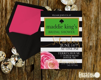 Bright Black and White Striped Bridal Shower Invitation and Additional Items Printables